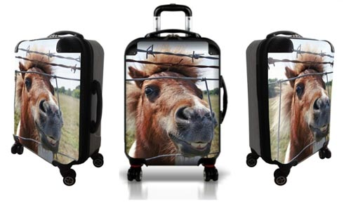 Personalized luggage with laughing horse