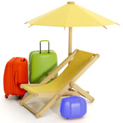 Three different colored bags and beach furniture