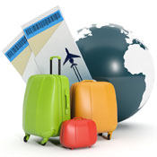 Luggage and airline tickets